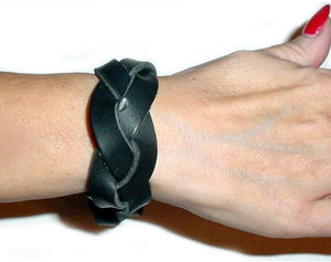 656 Braided Leather Wristband